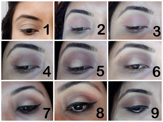 Neutral Halo Eyes with Berry lip makeup tutorial step by step with picture