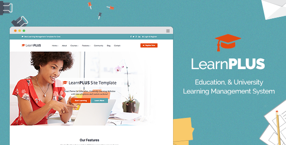 Download LearnPLUS Education LMS Responsive Theme Free gratis