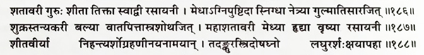 shatavari, ancient, classical, reference, shloka