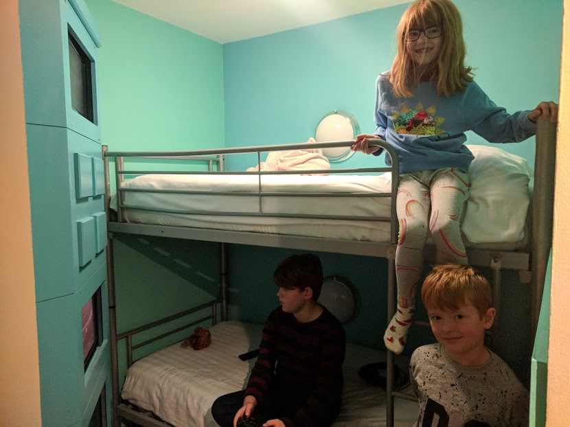 The Big Blue Hotel Blackpool | Pleasure Beach Package & Deluxe Family Room Review  - kids bunk beds and playstations