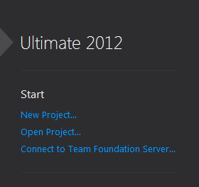 start new project file visual studio ultimate