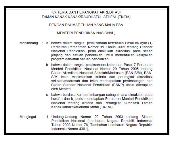 kriteria dan Perangkat Akreditasi TK/PAUD/RA