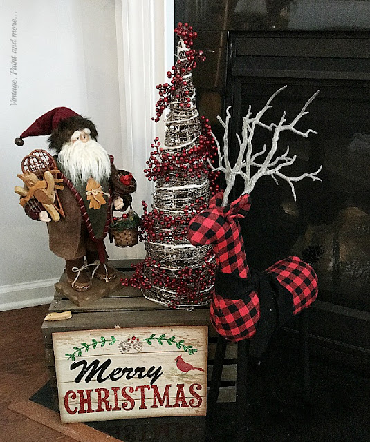 Vintage Paint and more.. red and black buffalo plaid used in a farmhouse Christmas vignette