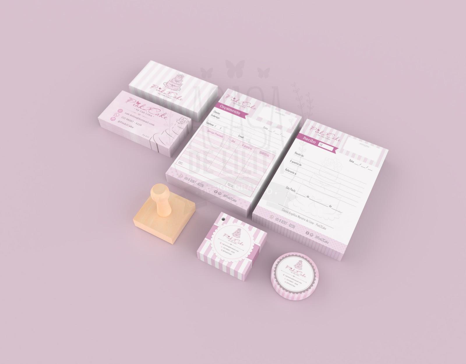 Criação de Identidade Visual - Pink2Cake: Logotipo, Ilustração, Adesivo, Cartão de Visita, Tag e Talões de Orçamento e Recibo e Carimbo