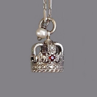 St. Edward's CROWN Charm GARNET Sapphire Sterling Tower of London
