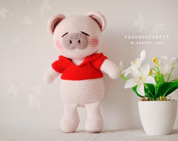 Cute Crochet Pattern  Pig Doll, Cute Amigurumi Pig Doll, แพทเทิร์น ตุ๊กตา ถัก โครเชต์ หมู น้อย น่ารัก