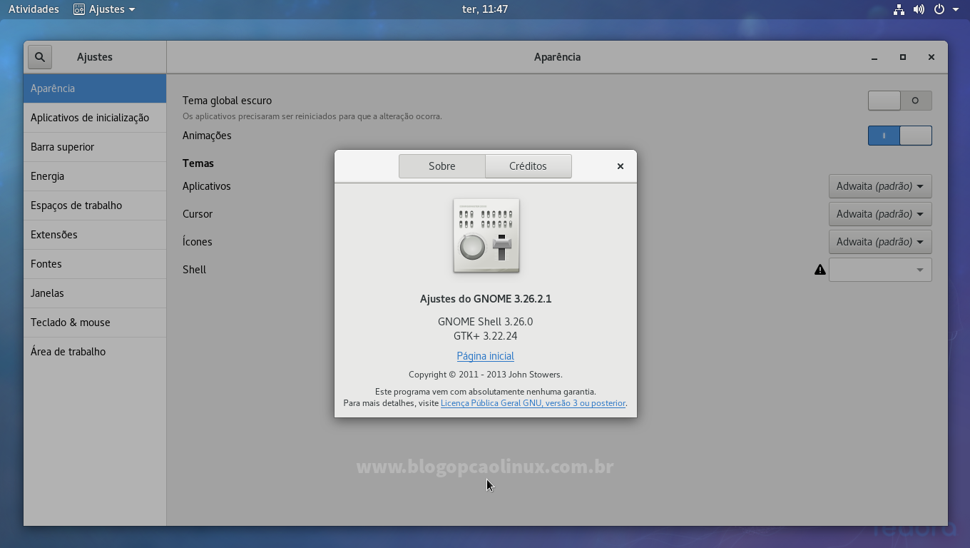 GNOME Tweak Tool executando no Fedora 27 Workstation