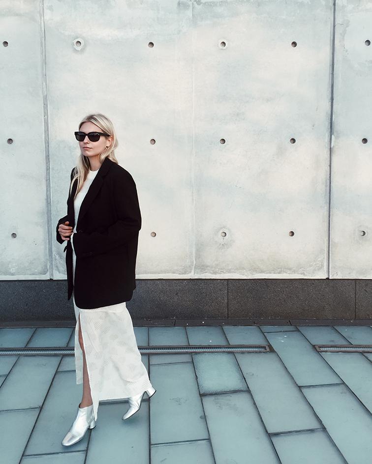 Heleneisfor fashion over reason, Aritzia babaton  blazer, Cienne NY dress, Marc Jacobs silver boots, Raen sunglasses