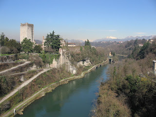 The remains of the Trezzo Bridge, which provided access to the Visconti castle, on the left, across the Adda