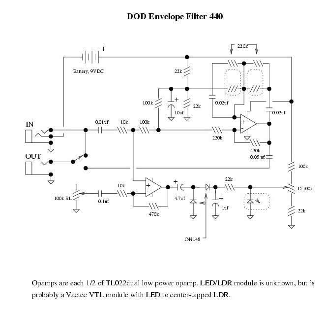 dod440 Envelope Filter Schematic on reverb schematic, eq schematic, mutron 3 schematic, preamp schematic, generator schematic, wah schematic, pitch shifter schematic, phaser schematic, limiter schematic, mixer schematic, vibrato schematic, ring modulator schematic, distortion schematic, compressor schematic, expression pedal schematic, chorus schematic, univibe schematic, buffer schematic, q-tron schematic,