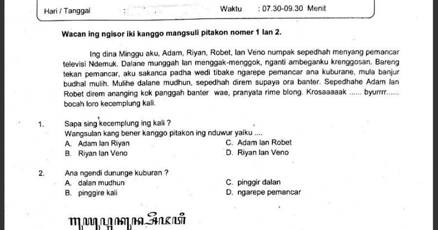 Soal Ujian Sekolah Mata Pelajaran Bahasa Jawa Kelas 6 Sekolahdasar Net
