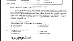 Soal Ujian Sekolah Mata Pelajaran Bahasa Jawa Kelas 6
