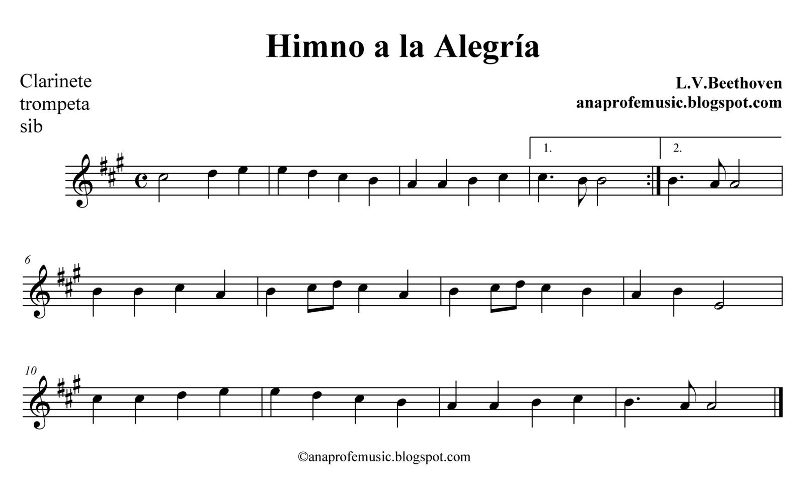 Anaprofemusic partitura himno a la alegr a for Cancion el jardin de la alegria