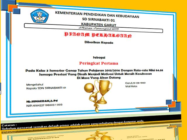 Aplikasi Pembuatan Piagam Penghargaan Siswa Berprestasi SD/MI