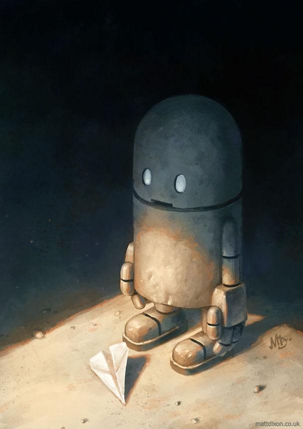 07-Matt-Dixon-Illustrations-of-Lonely-Robots-Experiencing-The-World-www-designstack-co