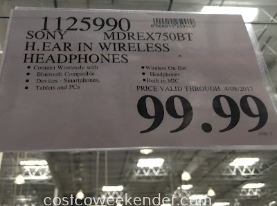 Deal for the Sony MDREX750BT h.ear in Wireless Stereo Headphones at Costco