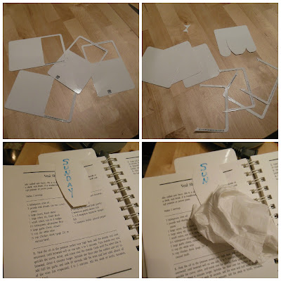 Easy, frugal, homemade dry wipe bookmarks.