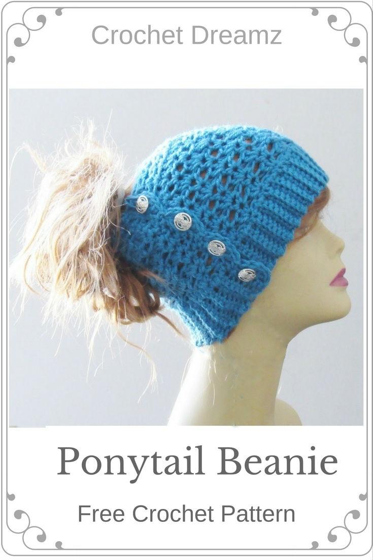 Ponytail or Messy Bun Hat Crochet Pattern, Free Crochet Pattern ...