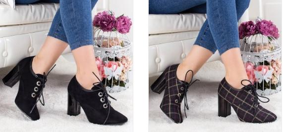Pantofi Lucrami negri cu toc gros si sireturi din piele eco intoarsa