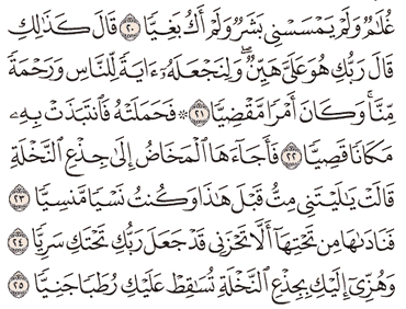 Tafsir Surat Maryam Ayat 21, 22, 23, 24, 25