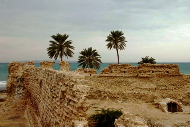 The stone made Portuguese castle of Qeshm located by the sea.