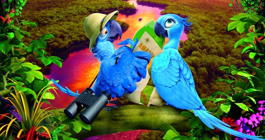 Blu şi Jewel într-o postură romantică