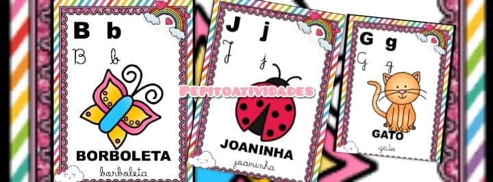 Alfabeto De Parede 4 Tipos De Letra Tema Chuva De Amor