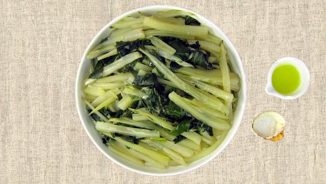 pressure cooked mature bok choi