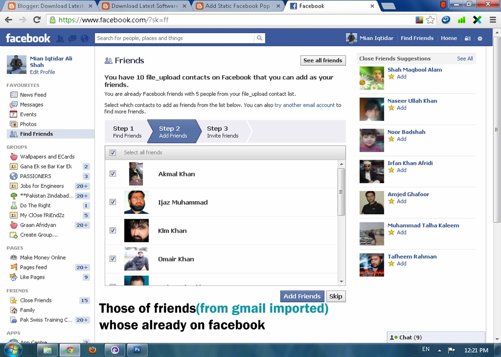 connect facebook to gmail