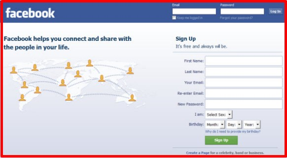 facebook login or sign up