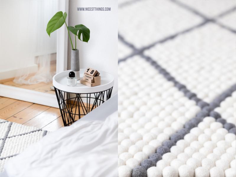 Schlafzimmer mit Filzkugelteppich grau mit Rauten Muster rechteckig #schlafzimmer