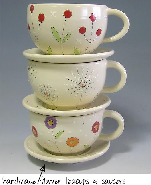 handmade flower teacups