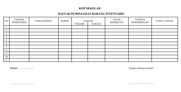 Daftar Peminjaman Barang Inventaris DOCX