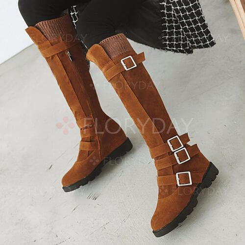 Buckle Mid-Calf Boots Wedge Heel Shoes
