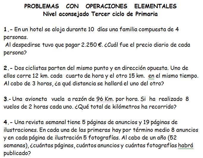 PROBLEMAS PARA TERCER CICLO DE EDUCACIÓN PRIMARIA