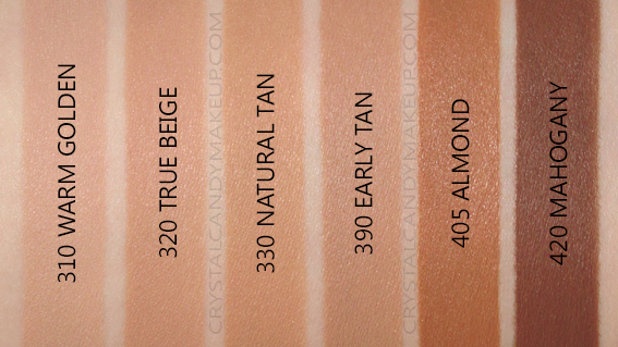 Revlon Colorstay Full Cover Foundation Swatches 310 320 330 390 405 420 MAC NW30 NC40 NW50