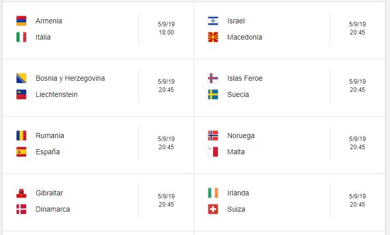 5 Calendario eliminatorias Eurocopa 2020 - 5 de septiembre 2019. Partidos de clasificación Eurocopa 2020. Juegos de las eliminatorias Eurocopa 2020. Partidos, fechas, hora, transmisiones eliminatorias Eurocopa 2020. Donde ver la Eurocopa 2020
