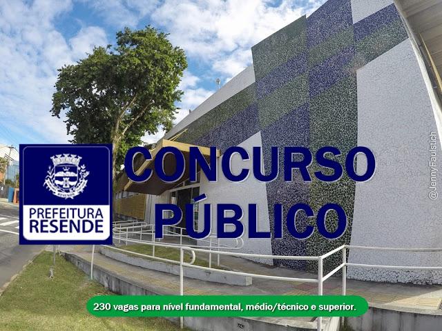 Concurso RJ: Prefeitura de Resende publica edital com 230 vagas: Salários até R$ 2.564,17