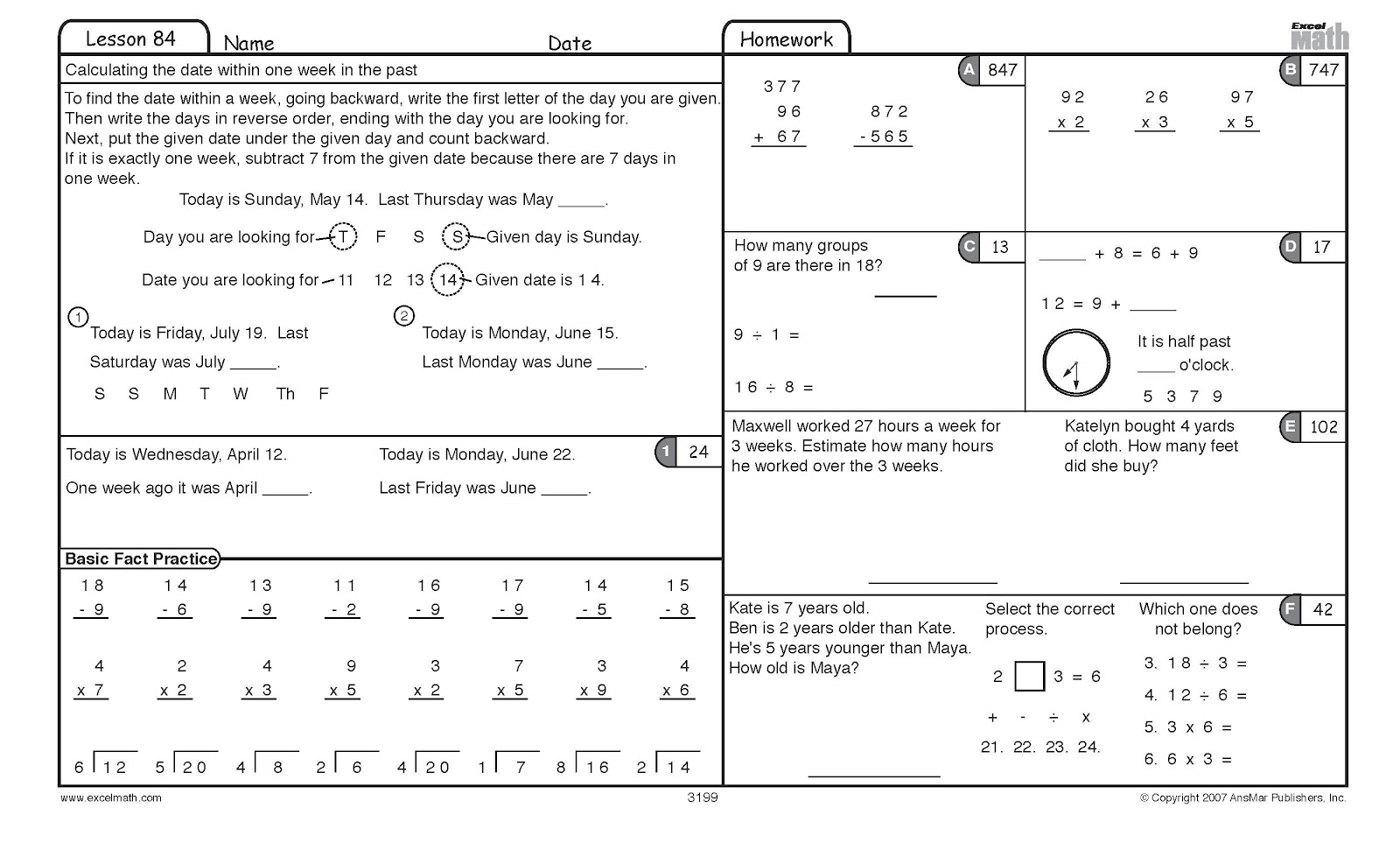 Calendar Math Worksheets For 4th Grade
