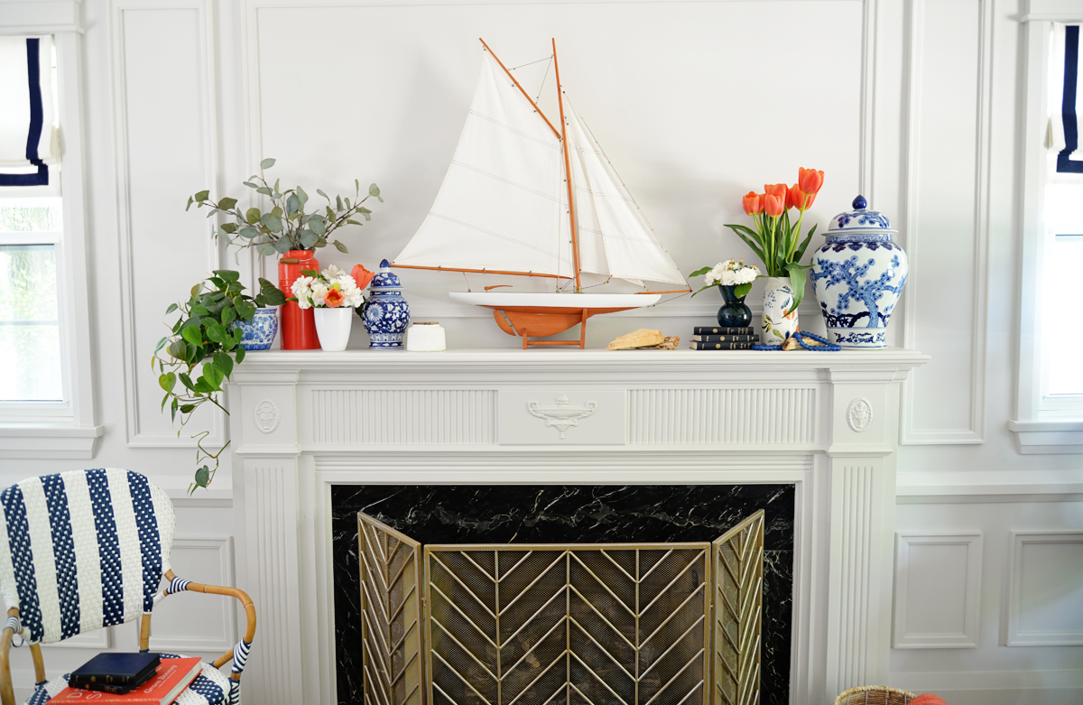 nautical summer mantel, RamblingRenovators, boat on mantel, orange and blue decor