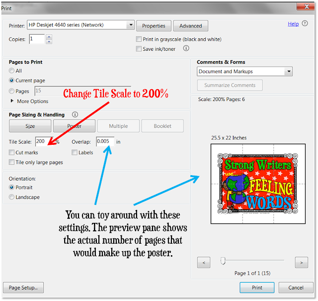 How to print poster size in Adobe Reader