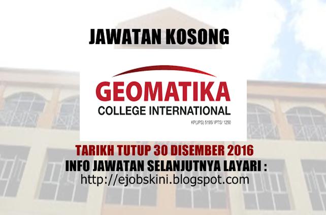 Jawatan Kosong Geomatika College International Disember 2016