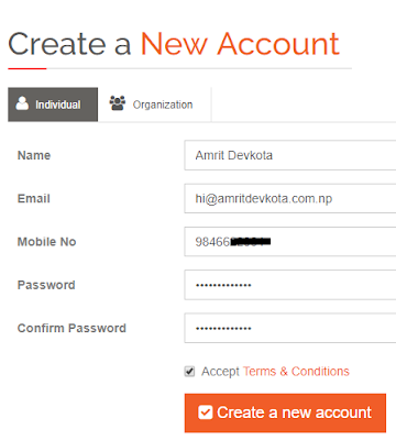 How to create account in iPay Nepal-- create new form