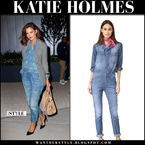 Katie Holmes in blue denim jumpsuit etienne marcel september 7 2017