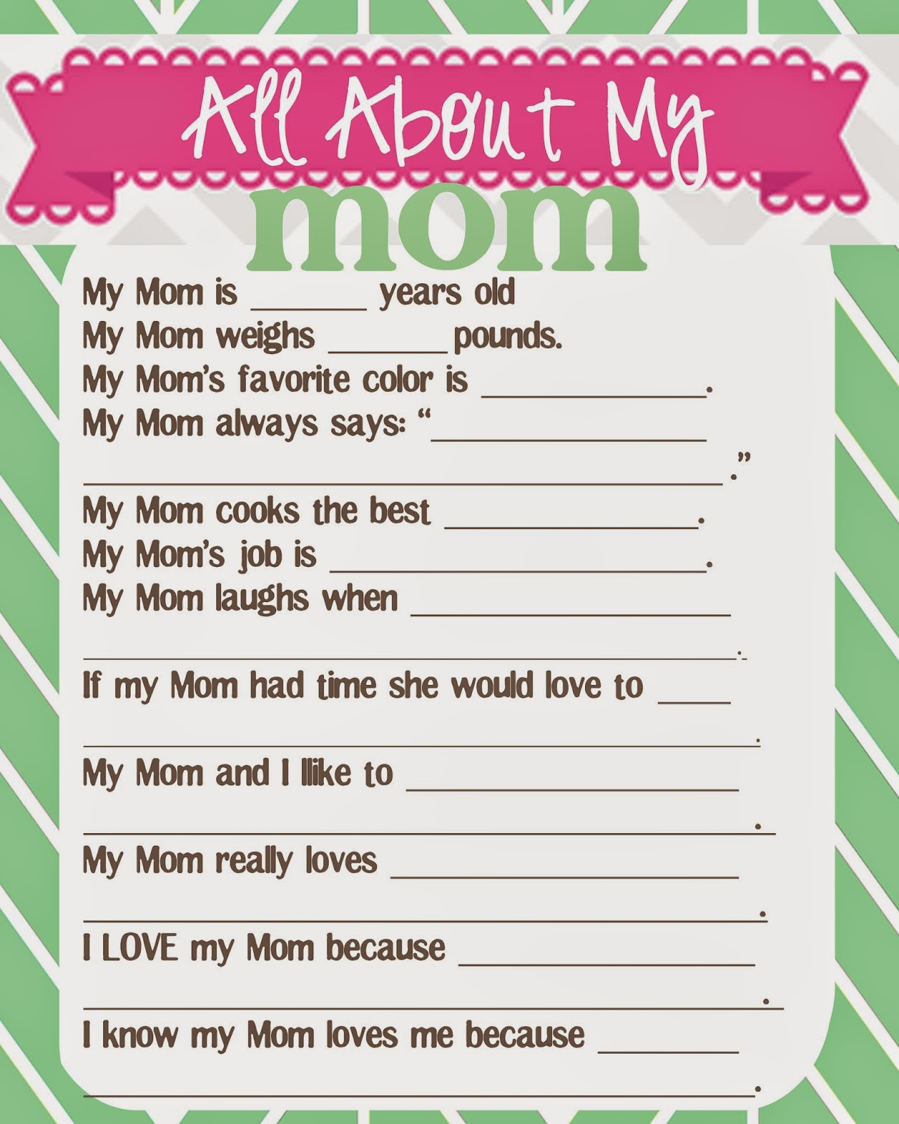 image regarding Mother's Day Questionnaire Printable referred to as What Does The Cox Say?: Moms Working day Questionnaire and Free of charge