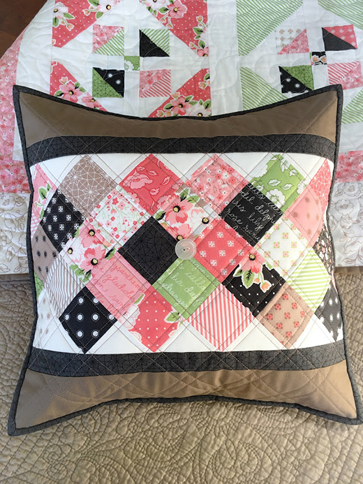On Point Quilt Pillow Free Tutorial Designed by Taunja Kelvington of Carried Away Quilting.