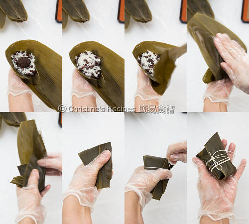 紅豆豆沙糉製作圖 Glutinous Rice Dumplings with Red Bean Filling Procedures02