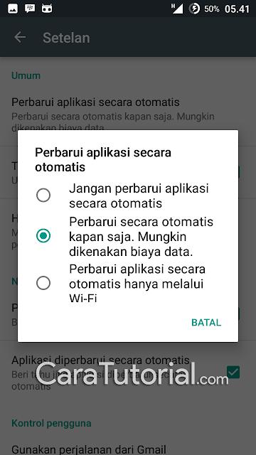 Opsi perbarui aplikasi secara otomatis