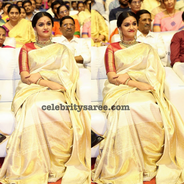 Keerthi Suresh Off White Silk Saree
