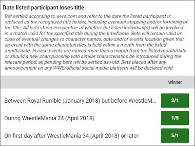 Date WWE Championship Changes Hands Betting Odds For February 10th 2018